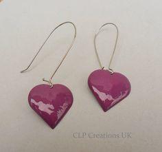 PURPLE HEART EARRINGS Enamel earrings Festival earrings Rock