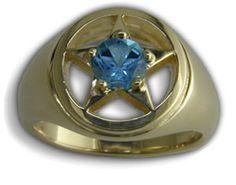 Gents Lone Star Blue Topaz Range Ring by C. Kirk Root Designs