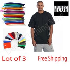 49bbe8d3 Details about PACK OF 3 PRO CLUB MEN'S BLANK HEAVYWEIGHT SHORT SLEEVE  CREWNECK T-SHIRTS S-10XL