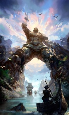 The ships sail through the legs of the Titan of Braavos, a giant statue of a warrior that is certainly a wonder of this fantasy world. Landscape by Kay Huang. Fantasy Artwork, Fantasy Concept Art, Fantasy Places, Fantasy World, Art Game Of Thrones, Game Of Thrones History, Fantasy Setting, Environment Design, Fantasy Landscape