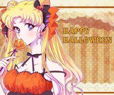 Cristal Sailor Moon, Arte Sailor Moon, Sailor Moon Usagi, Sailor Moon Crystal, Sailor Moon Halloween, Anime Halloween, Happy Halloween, Manga Anime, Anime Art