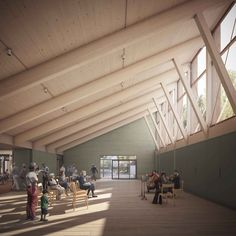 Hammersmith & Fulham Council has approved plans by Mæ for a new arts and community centre in South Park, close to Wandsworth Bridge in west London Timber Architecture, Architecture Awards, Architecture Design, Brick Design, Roof Design, Circular Buildings, Timber Roof, Timber Structure, Community Space