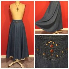 Vintage City Girl by Nancy Bolen Long Denim Flare Maxi Skirt Size 8 10 | eBay