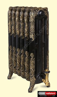 Oxford Cast Iron Radiator finished in Black with Gold highlight