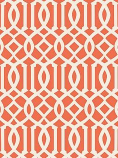 DecoratorsBest - Detail1 - Sch 5005800 - Imperial Trellis II - Ivory / Mandarin - Wallpaper - DecoratorsBest