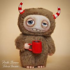 Made to order  Coffee Monster  6 inches artist teddy toy