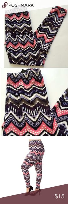 """(Plus) Zig zag leggings Multicolored leggings. Brand new with tags. Size is OSFM (plus). These are lightweight, but not sheer. 92% polyester/ 8% spandex. These are extremely comfortable! Inseam measures 26"""" and the elastic waistband stretches comfortably to 42"""". Colors are purple, pink, black, and white Price is firm unless bundled. No tradesAvailability- 3 Pants Leggings"""