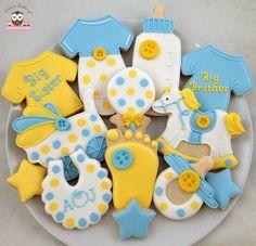 baby shower cookies, welcome new baby, jumpsuit cookies, onesie cookies, baby bottle cookies, big sister cookies, big brother cookies, baby foot cookies, rattle cookies, stroller cookies, pram cookies, rocking horse cookies, bib cookies, pacifier cookies, monogram cookies
