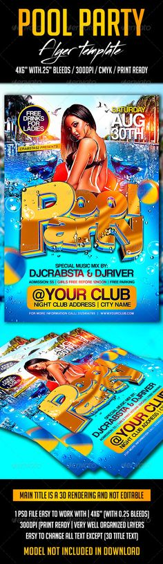 Summer Pool Party Psd Flyer Template Psd flyer templates - pool party flyer template
