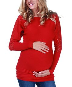 Take a look at this Red Lace Maternity Sweater - Women by PinkBlush Maternity on #zulily today!