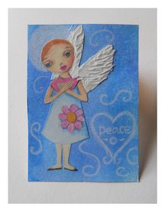 ACEO Angel of Peace  Original Mixed Media by HeARToftheMagpie,