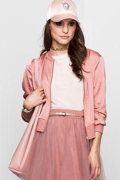 Light Pink Sateen Bomber Jacket TALLY WEiJL