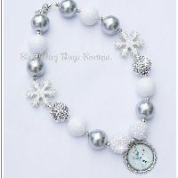 Snowman Snowflake Chunky Necklace