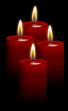 cluster of 4 red candles with gradating height