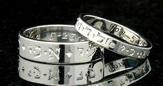 """these wedding rings have Song of Solomon 6:3 inscribed on them in Hebrew """"I am my beloved's and my beloved is mine."""" I absolutely love these!"""