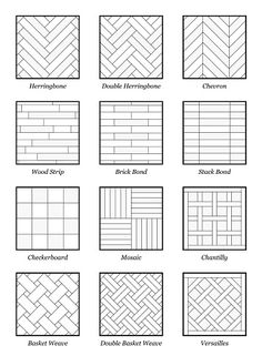 Illustration of Parquet patterns - collection of most popular flooring samples with names - isolated outline vector illustration on white background. vector art, clipart and stock vectors. Tile Layout Patterns, Brick Patterns, Floor Patterns, Subway Tile Patterns, Shower Tile Patterns, Doodle Patterns, Floor Design, House Design, Interior Design Sketches