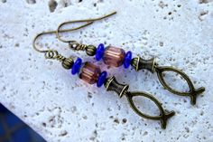 Charming Rustic Antiqued Brass Christian Ichthys Fish Chram Earrings with Czech Glass Beads by CreativeCutes on Etsy, $14.95