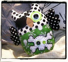 PIRATE OWL  Green Lime Black White by MyLittleFeather on Etsy, $35.00