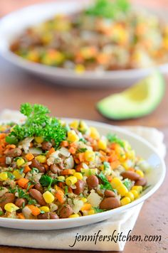 Tex Mex Beans Rice. You could substitute quinoa instead of rice, or use forbidden rice for an interesting variation. Healthy and low cal!