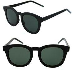 58a6eab01 Women's Men's Sunglasses Horn Rimmed Large Round Shape black frame Green  Lenses #Unbranded