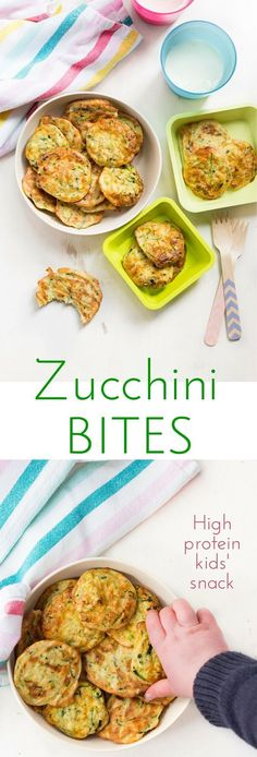 Zucchini bites (courgette bites) are a high protein snack great for kids.