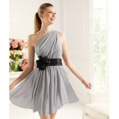 Yellow And Grey Evening Dress | ... Grey One Shoulder Short Prom Dress - Prom Dresses - Wedding Dresses