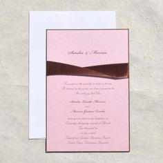 Pink and Brown Ribbon Wedding Invitations