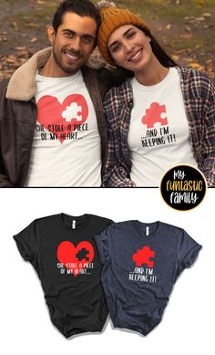 Matching Couple Outfits, Matching Couples, Cute Couples, Couple Tee Shirts, Disney Couple Shirts, Valentines Outfits, Valentines Day Shirts, His And Hers Hoodies, Family Tees