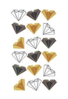 A heart is made of ... paper, scissors, rock  Art Print