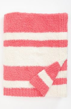 Cozy in stripes. Love this fuzzy throw blanket.