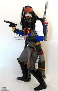 What happens when you can't decide on a costume for Halloween! (at least - Jack Sparrow, Boba Fett, Indiana Jones, The Doctor, Wolverine.) The Schizophrenic Costume. We Are The World, In This World, Star Wars Fett, Cosplay Costumes, Halloween Costumes, Bad Cosplay, Funny Costumes, Halloween Halloween, The Lone Ranger