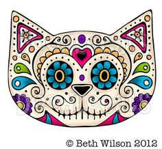 Pics For > Cute Cat Skull Drawing