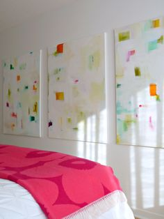 I revamped the bedroom paintings & I finally have a (frequently requested) tutorial for how to make your own abstract triptych
