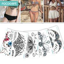 e47028b10de6d BC-5 Sheets Trendy Women Chest Back Temporary Tattoo Large Flower Shoulder  Arm Sternum Tattoos