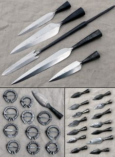aseita ja solkia spearheads, arrowheads, and brooches Vikings, La Forge, Survival, Blacksmith Projects, Medieval Weapons, Forging Metal, Fantasy Weapons, Knives And Swords, Knife Making