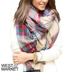 -Back Soon- Plaid Blanket Scarf Plaid blanket scarf made with cashmere & acrylic. Exceptionally soft fabric! 55x55 inches. PLEASE COMMENT TO BUY THIS LISTING, I will make a separate listing for you. We cannot accept discounted offers on items marked RETAIL! West Market SF Accessories Scarves & Wraps