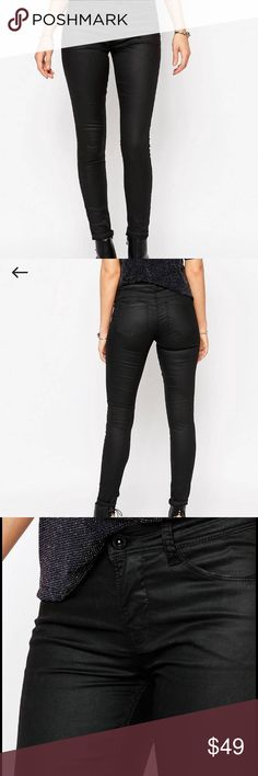 Only ultimate skinny coated black jeans Skinny coated black jeans brand new never worn. In the excellent condition. Bought from ASOS size L Length 32. 64% cotton 34% polyester 2% elastane only  Jeans Skinny