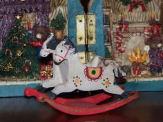 Wooden hand painted double horse w/ seating - rocking horse Christmas decoration