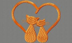 {Cats- 2 Cats Side By Side w Tails Heart Shaped ob_4e564e_chas-2 K.H.}  CATS (2)