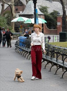 Bella Thorne walks her dog in Central Park