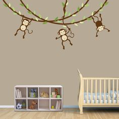 Hanging Monkey Wall Decal, Monkey Vines, Monkey Decal, Nursery Wall Decals, Boy Monkeys, Kids Room Wall Decals, Celadon Design. $58.00, via Etsy.