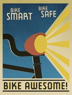 Bike Smart, Bike Safe, Bike AWESOME! Script & Seal, the amazing Portland-based duo of Liz Meyer and Gavin Potenza, created these wonderful posters for a cycling feature in the Portland Mercury.  Superb art direction by Nicole Lavelle.