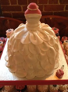 Bridal Shower Wedding Dress Cake with cupcakes - Wedding Dress Cake Inspired by a photo brought in by my client