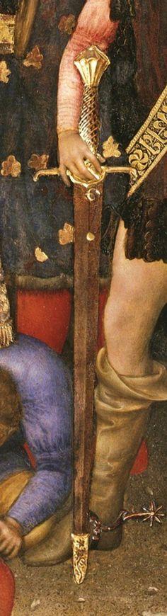 """STOCCO CON CAPPETTA. Raffigurato nell'opera di Gentile da Fabriano """"Adorazione dei Magi"""", 1423 (Galleria degli Uffizi, Firenze). Sul tema """"cappetta"""" si veda la seguente discussione sul forum di Villaggio Medievale: http://www.villaggiomedievale.com/forum/topic.asp?TOPIC_ID=3488"""