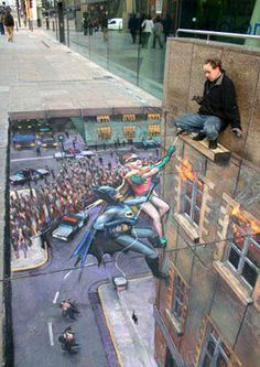Calk Art on a city footpath. Naturally the fear of falling would keep people from walking over this piece.