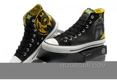 d5a98d10738d Chuck Taylor DC Comics CONVERSE Batman Graffiti Print Black Yellow Canvas  Shoes For Sale 55keP