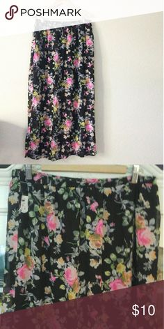 NWT Long Floral Skirt Beautiful long floral skirt  Built in half slip Says size 3x but more like 1x-2x...has an elastic waist 100% Polyester Libian Skirts Maxi