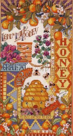 RARE NANCY ROSSI HONEY BEES SAMPLER CROSS STITCH  KIT BEE SKEP