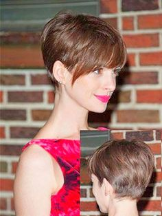 """Anne Hathaway with pixie haircut """"nice Anne Hathaway with pixie haircut - 10 Best Anne Hathaway Short Haircuts"""", """"Easy Short Brown Hairstyles For Women"""" Short Haircut Styles, Short Pixie Haircuts, Hairstyles Haircuts, Short Hair Cuts, Brown Hairstyles, Pixie Cuts, Pixie Bangs, Undercut Pixie, Hair Bangs"""
