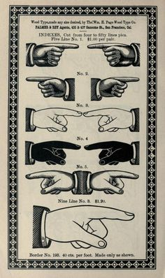 Indexes (Fists). Wood type from Palmer & Rey's Third Revised Specimen Book and Price List of Printing Material. Published 1887 in San Francisco.